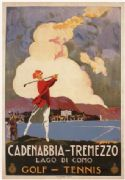 Cadenabbia Tremezzo, Golf and Tennis, Vintage Travel Poster.